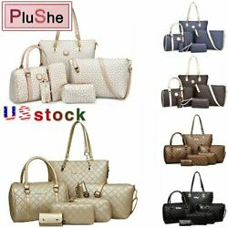 6Pcs Sets Women Lady Brand PU Leather Handbags Shoulder Purse Tote Bags Wallet $29.99