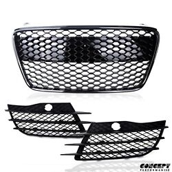 Fits 07-12 R8 Gen1 Glossy Black Grille w Fog Vents Grill Front Lower