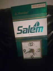 Antique Salem Cigarettes Metal Advertisement Sign 1 1/2 Ft By 1 Ft With Clock