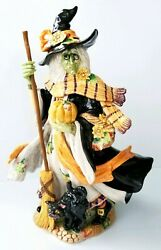 Fitz And Floyd Halloween Harvest Witch And Black Cat Rare Retired Figure Very Cool