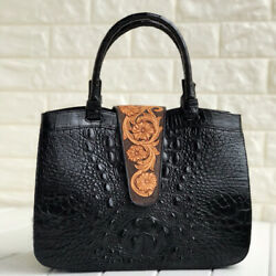 Women's Handle Bag GENUINE CROCODILE LEATHER Superior Embroidery Design Large