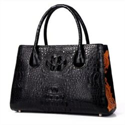 Women's Tote Bag GENUINE CROCODILE LEATHER Superior Embroidery Design Large