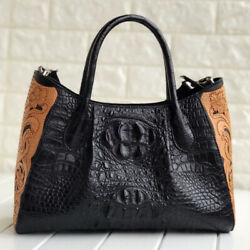 Women's Hobo Bag GENUINE CROCODILE LEATHER Superior Embroidery Design Large