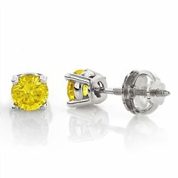 Si1-si2 Round Canary Yellow Enhanced Diamond Solid Gold Stud Earrings