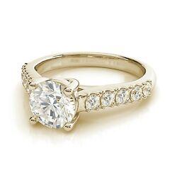 2.50ct Round Trellis Forever One Moissanite Yellow Gold Ring With Diamonds
