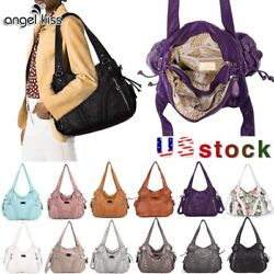 Angelkiss Women Brand Purses Satchel Handbags Shoulder Tote Bag Washed Leather $25.99