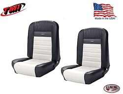 Full Set Deluxe Pony Seat Upholstery Mustang Convert. Front/rear Black And White