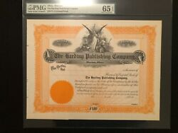 The Harding Publishing Company Stock Certificate Scarce Presidential Print News