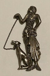 Rare Vintage Sterling And Marcasite Brooch Flapper Woman W/greyhound Dog On Leash