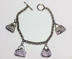 925 Sterling Silver Cz 4 Fashion Purses Charms Rolo Chain Bracelet 7.5andnbsp