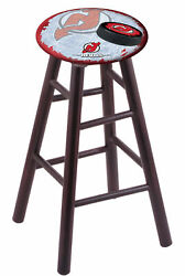 Maple Bar Stool In Dark Cherry Finish With New Jersey Devils Seat By The Holl...