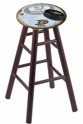Oak Counter Stool In Dark Cherry Finish With Anaheim Ducks Seat By The Hollan...