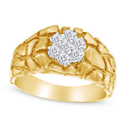 Menand039s 1/4ct Round Diamond Cluster Nugget Comfort Fit Ring 10k Yellow Gold -igi-