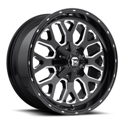 4 22x10 Fuel Black And Milled Titan Wheels 8x170 For 2003-2019 Ford F-250 F-350