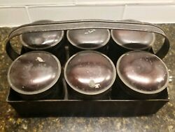 Vintage Tin Spice Set In Caddy 6 Canisters