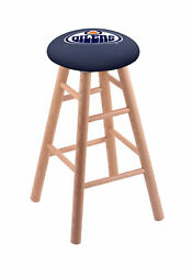 Holland Bar Stool Co. Oak Counter Stool In Natural Finish With Edmonton Oiler...