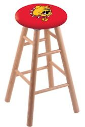 Holland Bar Stool Co. Oak Counter Stool In Natural Finish With Ferris State S...