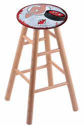 Oak Vanity Stool In Natural Finish With New Jersey Devils Seat By The Holland...