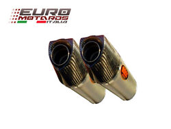 Massmoto Exhaust Dual Silencers Oval Titanium For Ducati Monster 696 2008-2014
