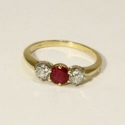 Fine Antique Natural Ruby And Diamond 3 Stone Ring 1 Tcw 14k Yellow Gold Size 8