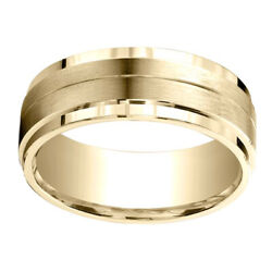 10k Yellow Gold 8.00 Mm Comfort-fit Men's Engagement And Wedding Band Ring Sz-12