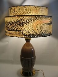 Vintage Mid Century Modern Lt Brown/ Gold Table Lamp And 2 Tier Fiberglass Shade