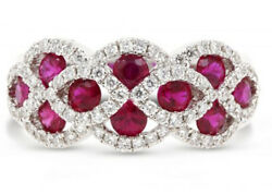 Black Friday 1.28ct Natural Diamond 14k Solid White Gold Ruby Cocktail Ring