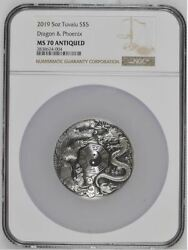 Tuvalu 2019 5 Dragon And Phoenix W/bagua 5oz Silver Antiqued Coin Ngc Ms70 An