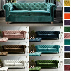 New Westminster 3 Seater Chesterfield Sofa Bed Plush Velvet Settee Sofabed Couch