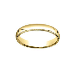 4mm Slightly Dome Comfort Fit 10k Yellow Gold Band Ring Sz 13 W/ Milgrain