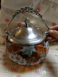Antique Victoran Wm A Rogers Amber Glass Biscuit Jar With Silver Platted Lid