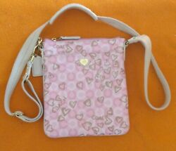 Pink Coach Small Purse With Hearts & Shoulder Strap Satchel