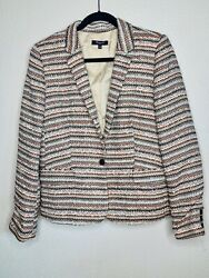 Madewell Tweed Blazer Jacket Size 10 L Large Striped One Button