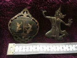 A pair of Siamese Vintage Silver Brooches Depicting Gods