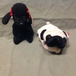 Retired Ty Beanie Baby Lot Dogs Pugsly The Pug And Gigi The Poodle