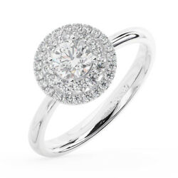 0.75ct Round Cut Diamonds Halo Engagement Ring Available In Metal 18k Gold
