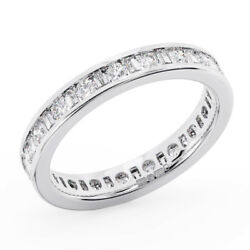 1.25ct Channel Set Baguette And Round Cut Diamonds Eternity Ring In Metal Platinum