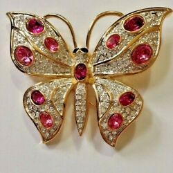 3.52CT NATURAL ROUND DIAMOND 14K YELLOW GOLD RUBY GEMSTONE BUTTERFLY BROOCH
