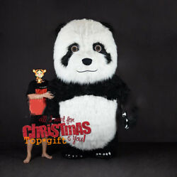 Inflatable Long Fur Chinese Panda Bear Plush Mascot Costume Birthday Party Dress