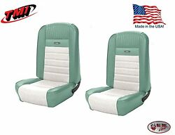 Deluxe Pony Seat Upholstery Mustang Fastback Front/rear Turquoise And White