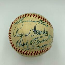 Beautiful Cy Young Jimmie Foxx Rogers Hornsby Hall Of Fame Signed Baseball JSA