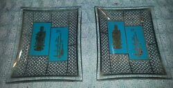Pair Of Cute Oriental Little 3 Glass Pin Or Trinket Glass Dishes Incense Trays