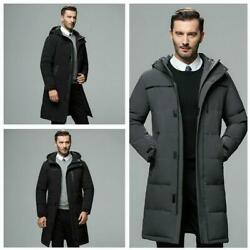 Menand039s Classic Coat Duck Down Long Jacket Winter Thick Outerwear Warm Hooded Coat