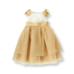 Nwt Janie And Jack Forever Rose 12 18 24 M 4 5 6 7 Metallic Gold Tulle Dress 109