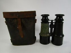 Vintage Chevalier Optician Paris Binoculars France Brass Military With Case