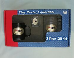 Nfl New England Patriots Pewter 3 Piece Gift Set Coffee Cup Beer Mug Shot Glass