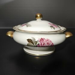 Castleton China Peony Covered Vegetable Dish With Lid