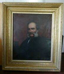 Antique Oil On Canvas Painting Portrait Of A Gentlemanmuseum Quality1840-1880