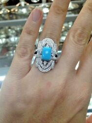 2.01ct Natural Round Diamond 14k Solid White Gold Turquoise Wedding Ring