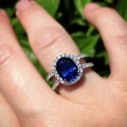 1.01ct Natural Diamond Blue Sapphire 14k White Gold Engagement Cocktail Ring